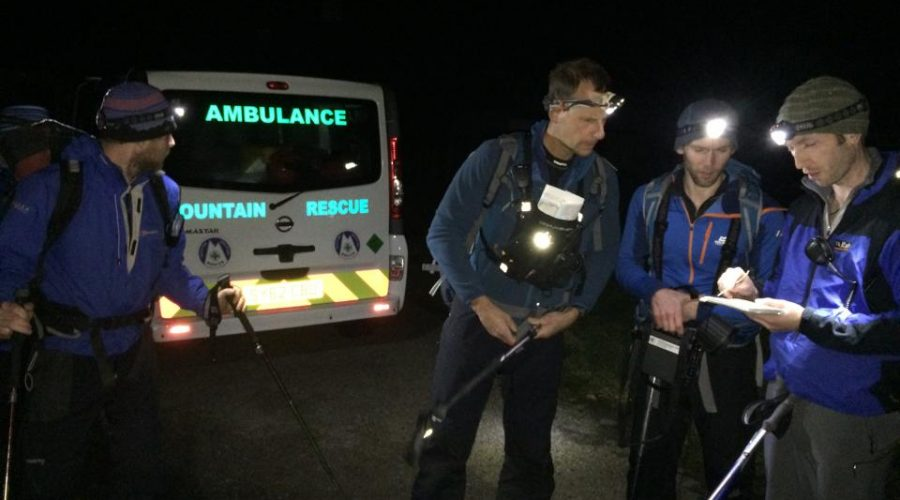 Group deploying for night search Applecross