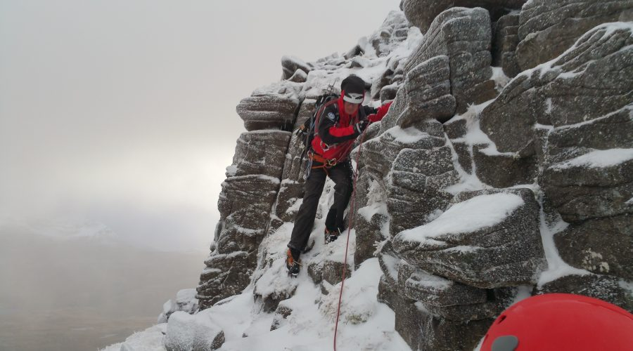 Winter training on Am Fassarinen Pinnacles, Liathach